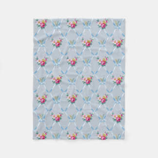 Pretty Blue Ribbons Rose Floral Vintage Wallpaper Fleece Blanket