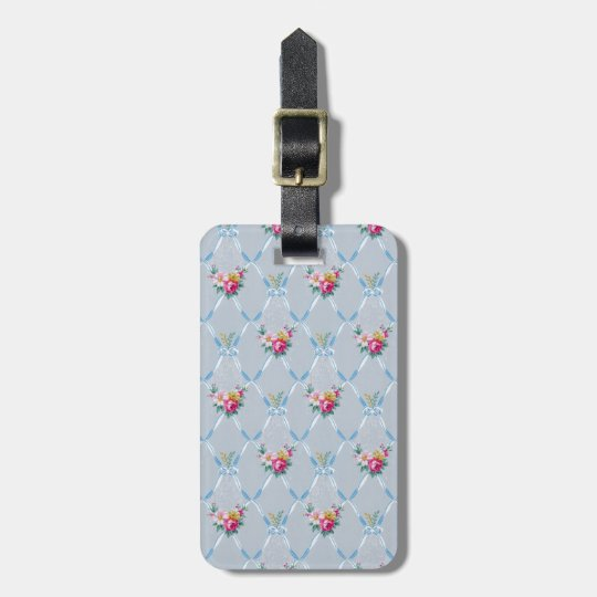 Pretty Blue Ribbons Rose Floral Vintage Wallpaper Luggage Tag