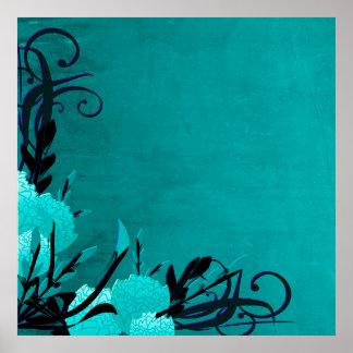 Pretty Blue Rose Floral Vines Poster