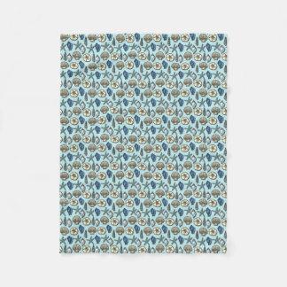 Pretty Blue Shell Starfish Sea Pattern Fleece Blanket