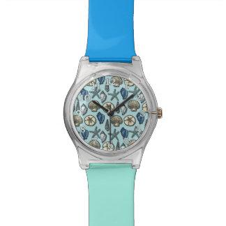 Pretty Blue Shell Starfish Sea Pattern Wristwatches