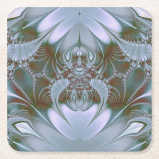 Pretty Blue Silk and Satin Look Square Paper Coaster