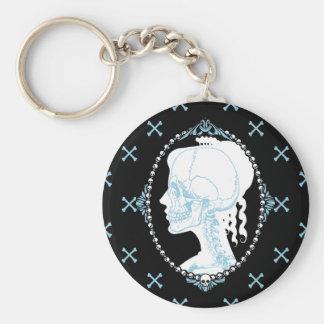 Pretty Blue Skull Cameo Keychain