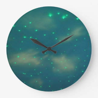 Pretty Blue Sky Lights Large Clock