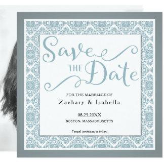 Pretty Blue Square Save the Date Invitation