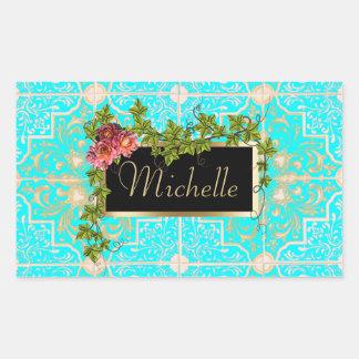 Pretty Blue Tile Rosevine Nameplate Sticker