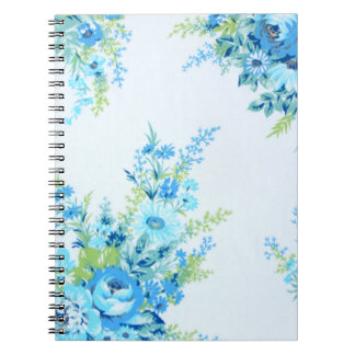 Pretty Blue Vinatge Floral Notebook