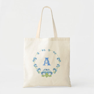Pretty Blue Watercolor Flowers Monogram Tote Bag