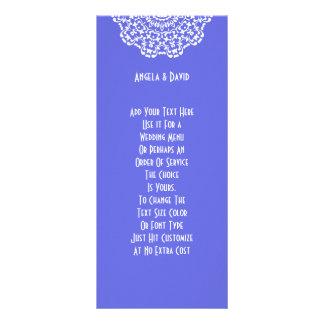Pretty Blue White Lacy Pattern Peronalized Rack Card