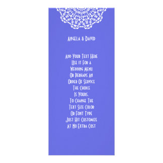 Pretty Blue White Lacy Pattern Peronalized Rack Card Template