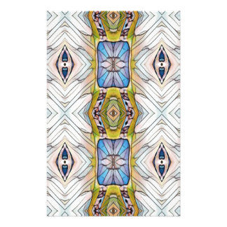 Pretty Blue Yellow Feathery White Pattern Stationery