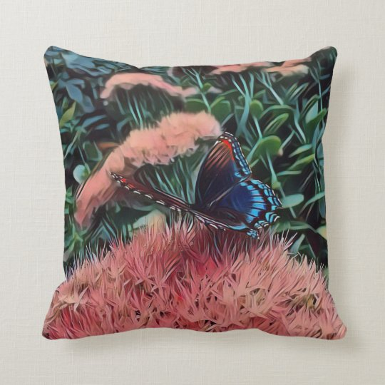 Pretty Blush Peach Flowers With Monarch Butterfly Throw Pillow