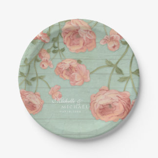 Pretty Blush Pink Peach Roses Wood Fence Vintage Paper Plate