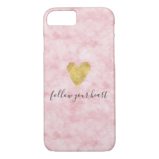 Pretty Blush Pink Watercolor Gold Heart iPhone 8/7 Case