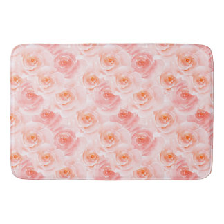 Pretty Blush Pink Watercolor Roses Bath Mat