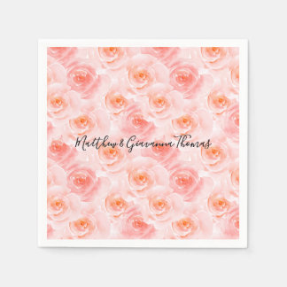 Pretty Blush Pink Watercolor Roses Disposable Napkins