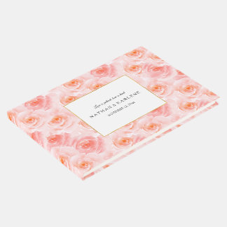 Pretty Blush Pink Watercolor Roses Guest Book