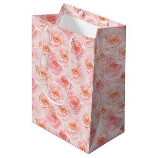 Pretty Blush Pink Watercolor Roses Medium Gift Bag