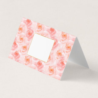 Pretty Blush Pink Watercolor Roses Place Card