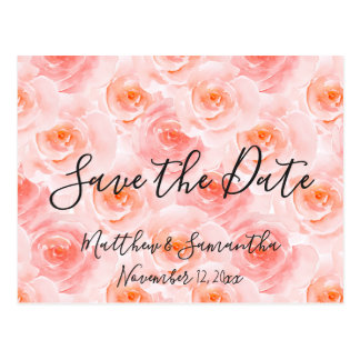 Pretty Blush Pink Watercolor Roses Save the Date Postcard