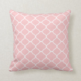 Pretty Blush Pink White Quatrefoil Pattern Throw Pillow
