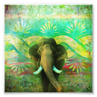 Pretty Bohemian Elephant Turquoise Tribal Pattern Photo Print