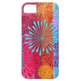 Pretty Bold Colorful Flower Bursts on Wide Stripes Case For The iPhone 5
