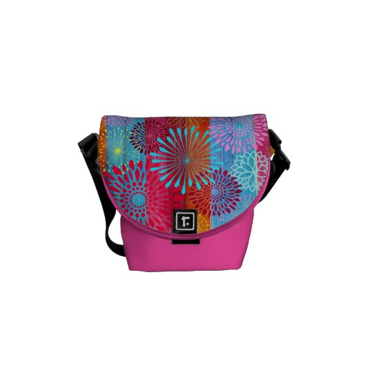 Pretty Bold Colourful Flower Bursts on Wide Messenger Bag