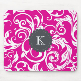 Pretty Boss Monogram Floral Wallpaper Fuchsia Pink Mouse Pad