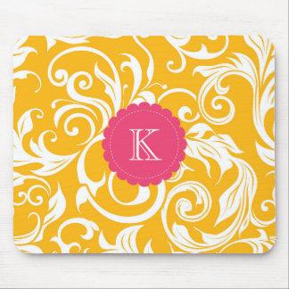 Pretty Boss Monogram Floral Wallpaper Orange Pink Mouse Pad