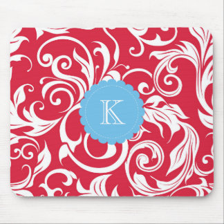 Pretty Boss Monogram Floral Wallpaper Red Blue Mouse Pad