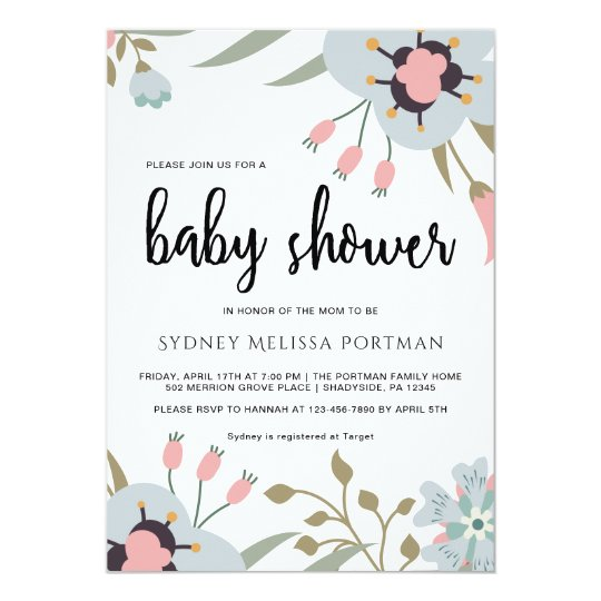 Pretty Botanical Baby Shower Invitation