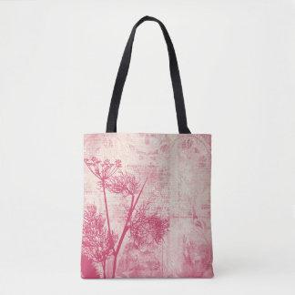 Pretty Botanical Pink Dandelion Seed Silhouette Tote Bag