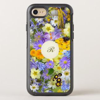 Pretty Botanical Wildflowers Monogrammed OtterBox Symmetry iPhone 7 Case