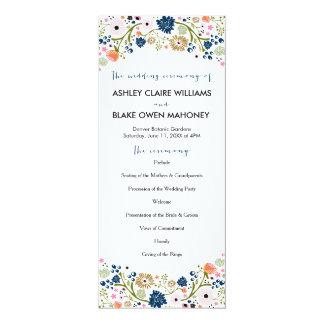 Pretty Bouquet Floral Wedding Program   Navy