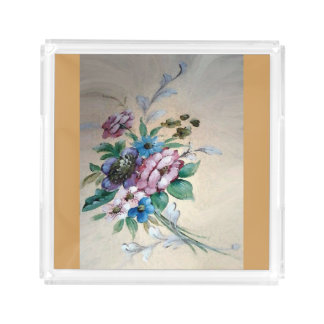 "Pretty `Bouquet of Flowers"" Acrylic Tray"
