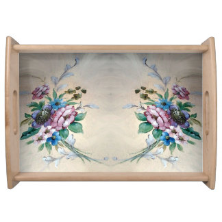 "Pretty `Bouquet of Flowers"" Serving Tray"