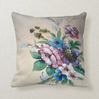 Pretty `Bouquet of Flowers' Square Pillow