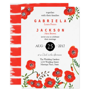 Pretty Bouquet Poppies | Wedding | Invitation Card