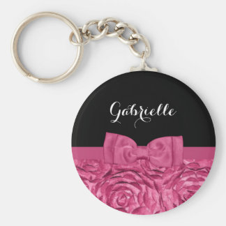 Pretty Bow Pink and Black Rose Pattern With Name Key Chains