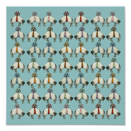 Pretty Bow Sheep CHANGE COLOR~ Gift Wrapping Paper Poster