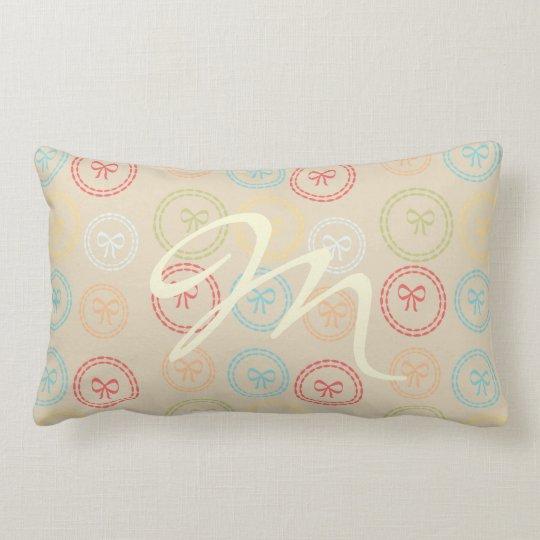 Pretty Bows Pattern Monogrammed Lumbar Pillow