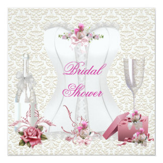 Pretty Bridal Shower White Pink Corset Floral Card