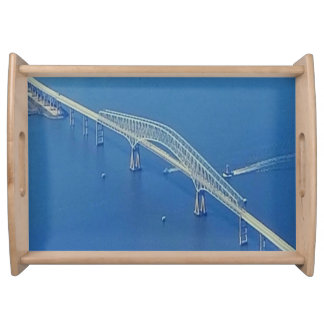 Pretty Bridge Over Blue Water Serving Tray