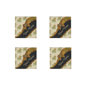 Pretty brown and beige  vintage floral pattern stone magnets