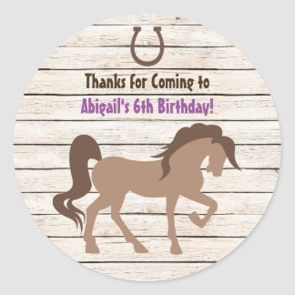 Pretty Brown Horse and Barn Wood Girls Birthday Round Sticker