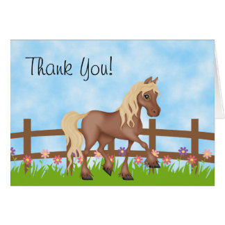 Pretty Brown Horse and Cute Flowers Thank You Card