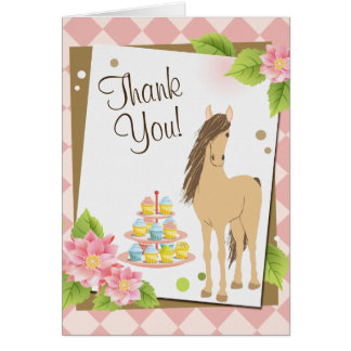 Pretty Brown Horse and Pink Flowers Thank You Card
