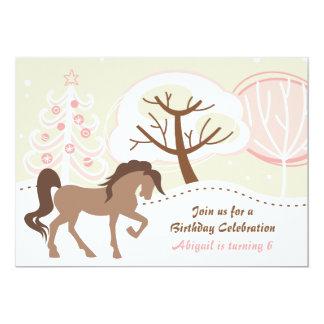 Pretty Brown Horse Pink Winter Birthday Invite