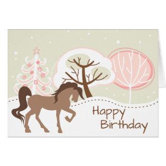 Pretty Brown Horse Snowy Pink Winter Birthday Card